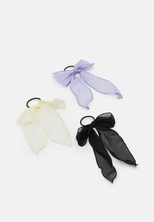 PCANNEBELLE BOW ELASTIC 3 PACK - Hair styling accessory - black/white/purple