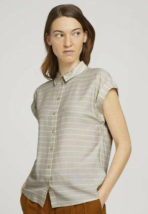 Button-down blouse - beige stripe