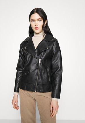 OVERSIZED BIKER JACKET - Faux leather jacket - black