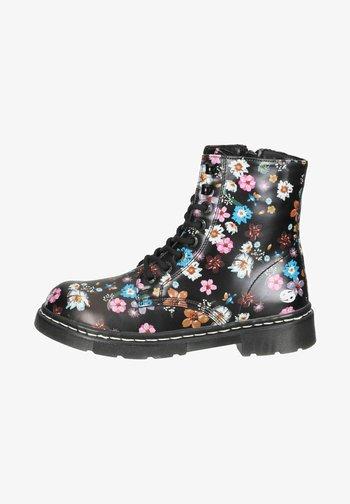 Lace-up ankle boots - schwarz/orange