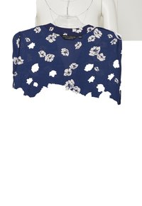 Dorothy Perkins - FLORAL DOUBLE BUTTON COLLARLESS ROLL SLEEVE - Bluser - navy - 7