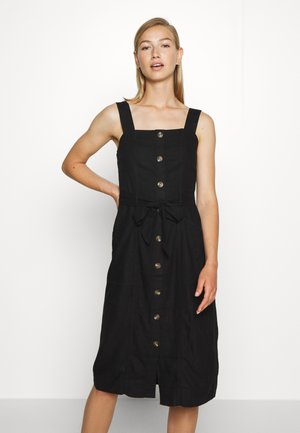 WIDE STRAP UTILITY MIDI - Shirt dress - black