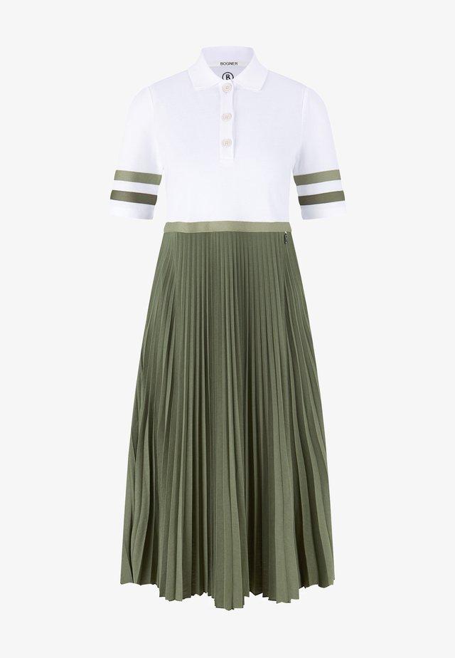 Maxi šaty - creme/oliv-grün