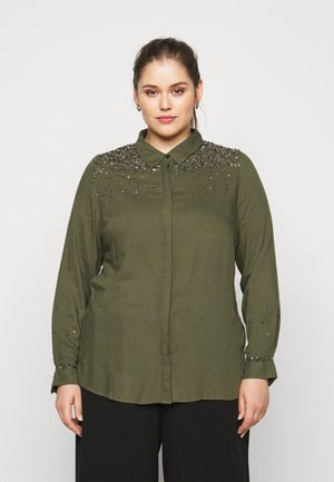 EMBELLISHED UTILITY - Button-down blouse - khaki