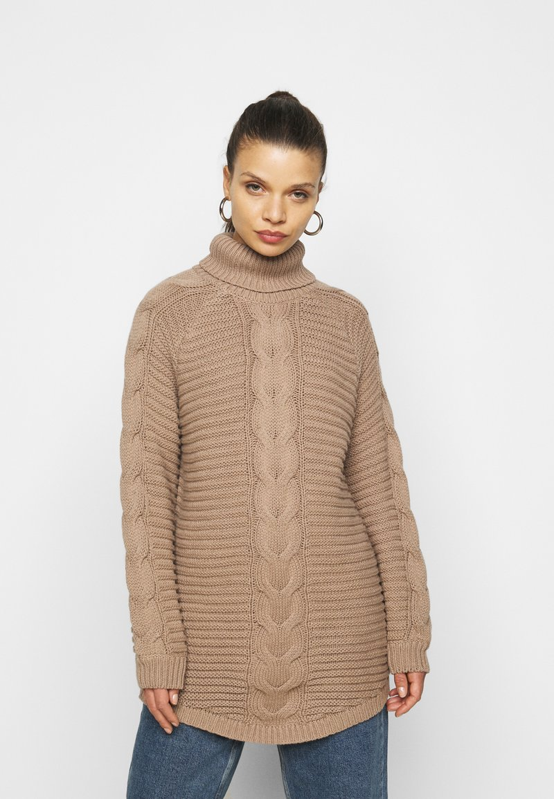 Pieces Petite - PCDIGA ROLL NECK LONG - Jumper - taupe gray