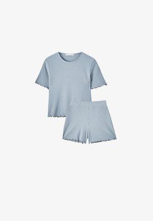 GRAUES SHIRT UND SHORTS IM PACK - Print T-shirt - hellblau