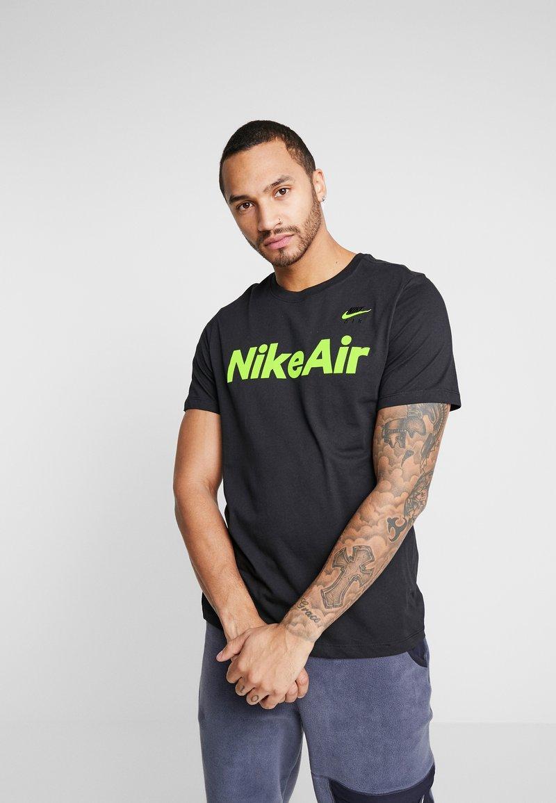 Nike Sportswear - AIR TEE - Print T-shirt - black/volt