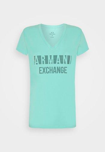 Print T-shirt - light aqua