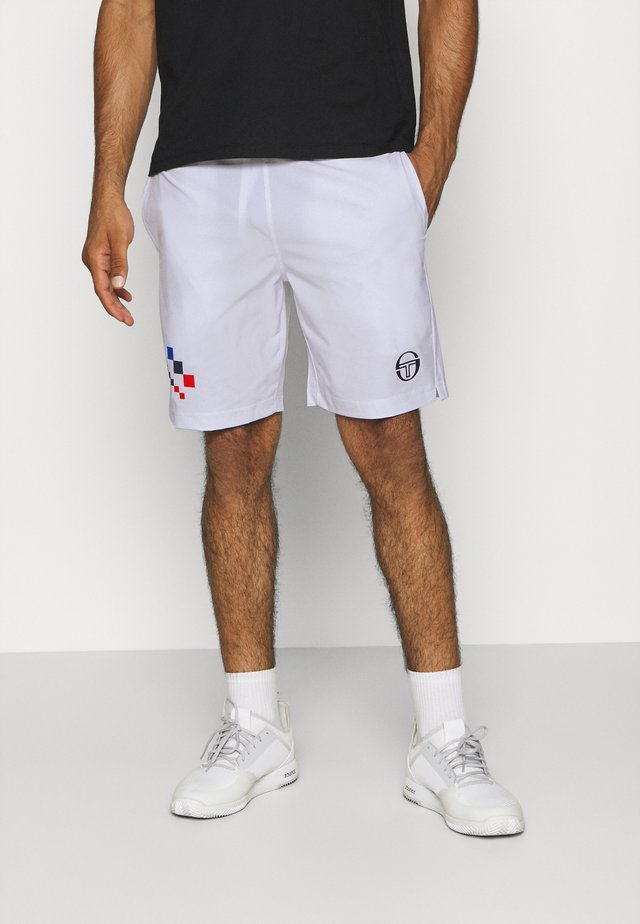 CHECK - Sports shorts - white/navy