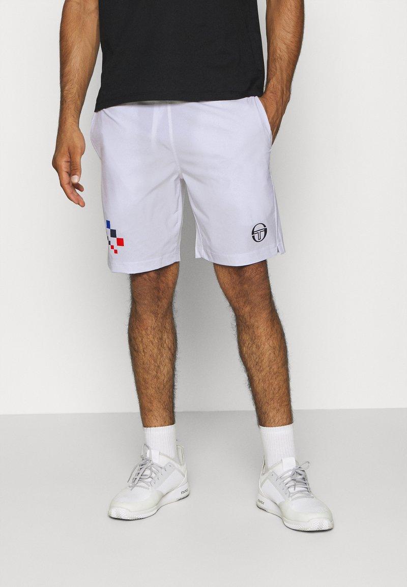 sergio tacchini - CHECK - Sports shorts - white/navy