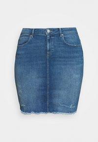 ONLY Carmakoma - CARVERA LIFEKNEE SKIRT - Denim skirt - medium blue denim - 4