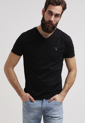 THE ORIGINAL SLIM V NECK - Jednoduché triko - black
