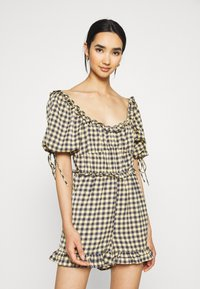 Missguided - GINGHAM PLAYSUIT - Overal - yellow - 0