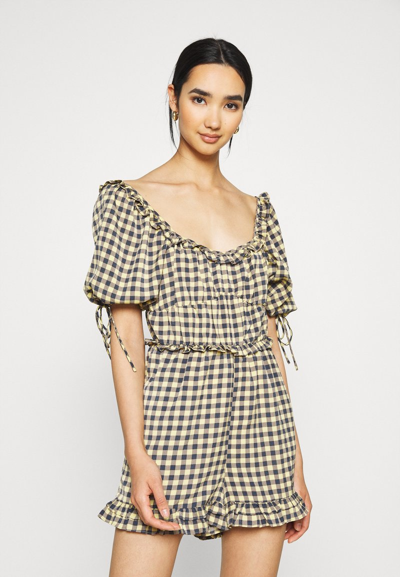 Missguided - GINGHAM PLAYSUIT - Overal - yellow
