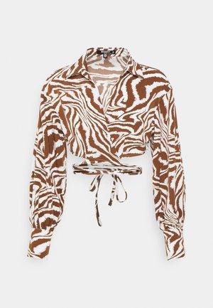 WRAP SHIRT ZEBRA - Long sleeved top - brown