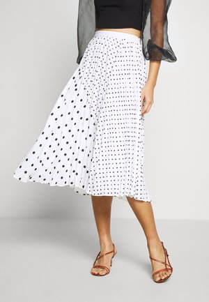 PLEATED MIDI MIXED DOT SKIRT - A-snit nederdel/ A-formede nederdele - black