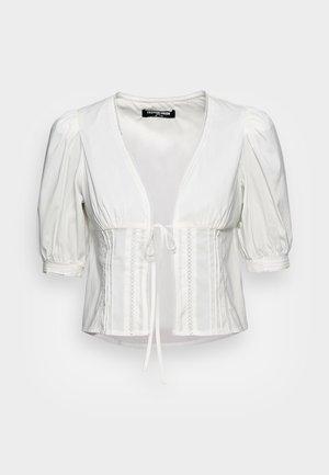 MARIYLLYN PUFF SLEEVE TIE FRONT - Bluse - white