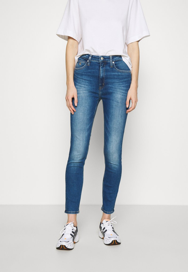 Calvin Klein Jeans - HIGH RISE SUPER SKINNY ANKLE - Jeans Skinny Fit - bright blue