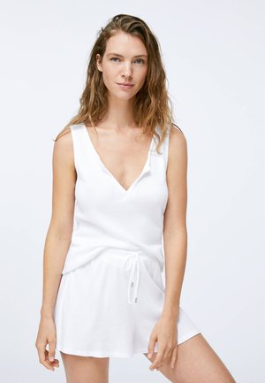 SLEEVELESS COTTON T-SHIRT - Pyjama top - white