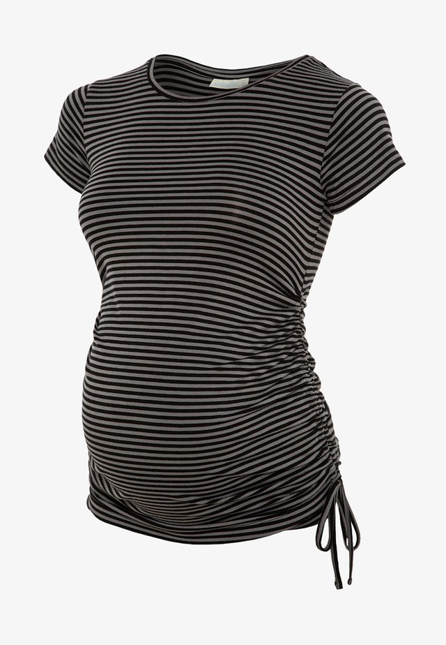 GATHERED - T-shirt med print - black grey stripe