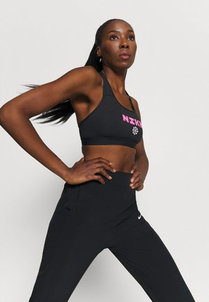 BAND BRA - Medium support sports bra - black/hyper pink/pink foam