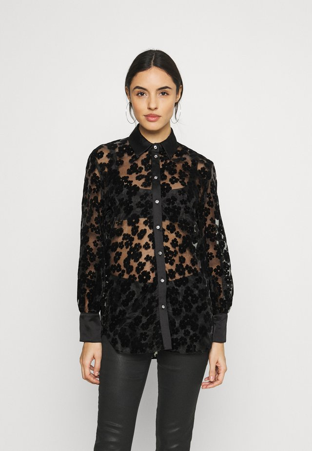 SATIN BURNOUT SHIRT  - Bluse - black