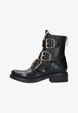 SCHWARZE BIKER BOOTS MIT GOLDENEN SCHNALLEN - Platform ankle boots - schwarz