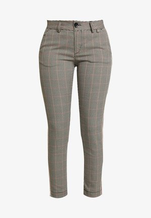 LOVELY POLY STRIPE CHECK - Trousers - beige