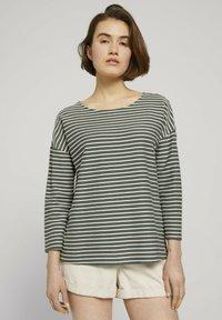 TOM TAILOR DENIM - Long sleeved top - pine green melange stripe - 0