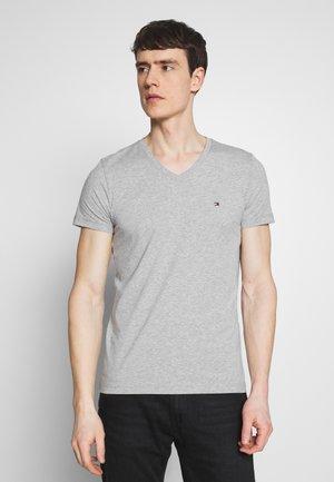 STRETCH SLIM FIT VNECK TEE - Basic T-shirt - grey