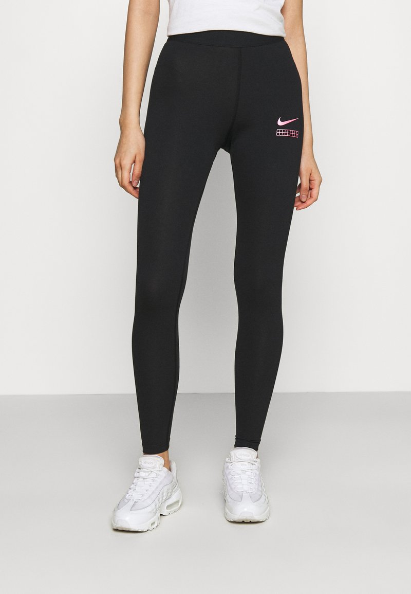 Nike Sportswear - CLUB - Leggings - black/hyper pink