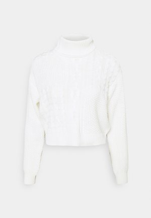 PCSUMMER ROLL NECK - Strickpullover - cloud dancer