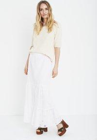 PULZ - Maxi skirt - bright white - 1
