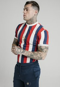 SIKSILK - T-shirt imprimé - navy red  white - 0