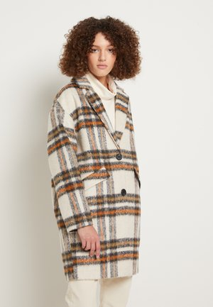 CHECK COCOON COAT - Kappa / rock - creme beige