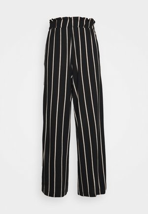 PAPERBAG CULOTTE WITH POCKETS - Trousers - black/beige