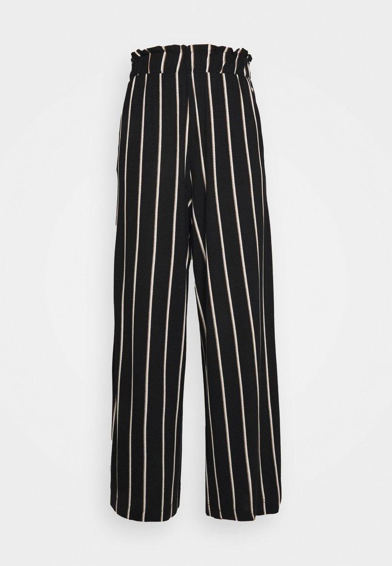 TOM TAILOR DENIM - PAPERBAG CULOTTE WITH POCKETS - Trousers - black/beige