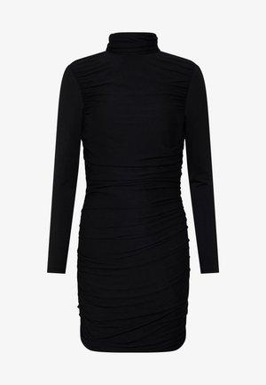 RUCHED DETAIL BODYCON MIDI DRESS - Shift dress - black