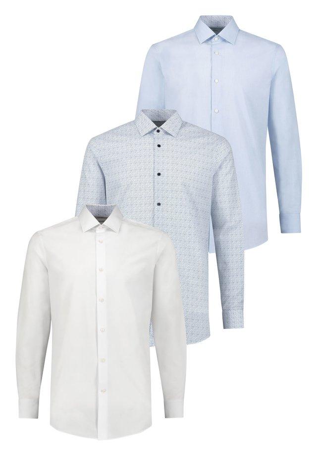 PRINT AND CONTRAST TRIM SHIRTS 3 PACK-SLIM FIT SINGLE CUFF - Camisa - blue