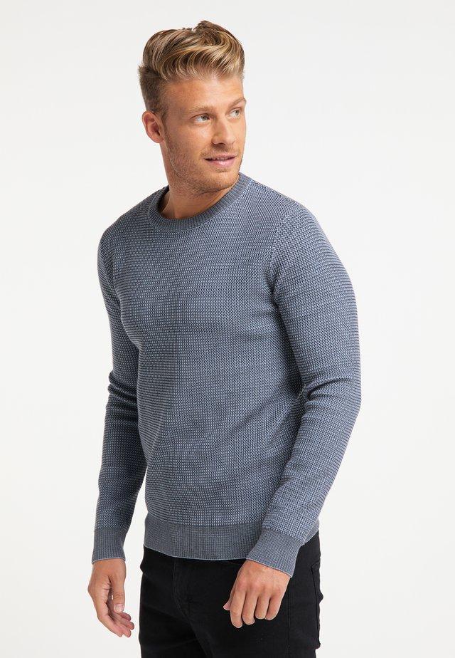 Stickad tröja - jeansblau dunkelgrau