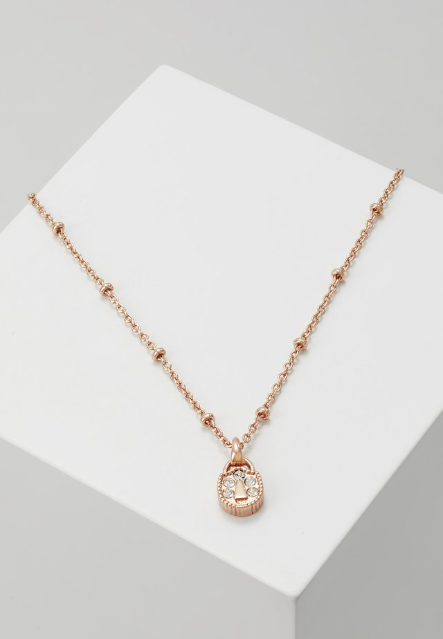 MINI PAVE PADLOCK CHARM PENDANT - Necklace - rose gold-coloured