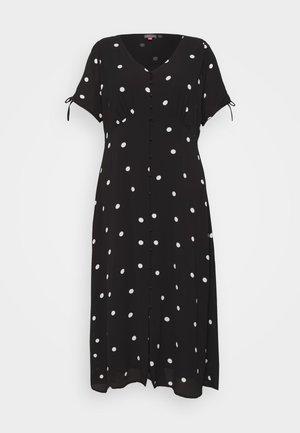 POLKA DOTS DRESS - Shirt dress - black