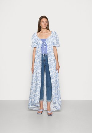 LORNA LUXE BLUE FLORAL PUFF SLEEVE TIE FRONT LONGLINE BLOUSE - Tunika - blue