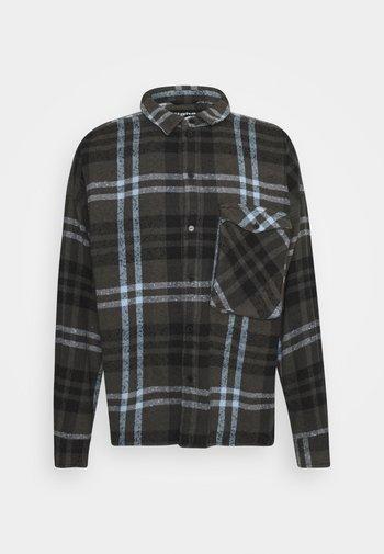 LANDO - Shirt - stone grey/black/ice blue