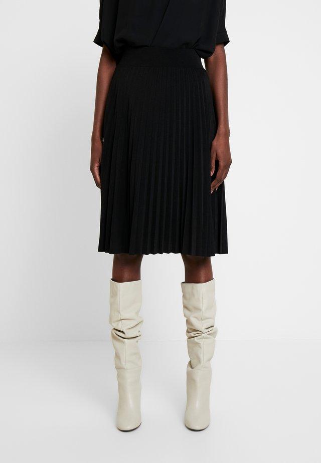 Plisse A-line mini skirt - Falda acampanada - black