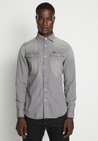 G-Star - 3301 SLIM SHIRT L\S FADED DUST GREY MEN - Camicia - faded dust grey - 0