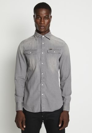 3301 SLIM SHIRT L\S FADED DUST GREY MEN - Vapaa-ajan kauluspaita - faded dust grey