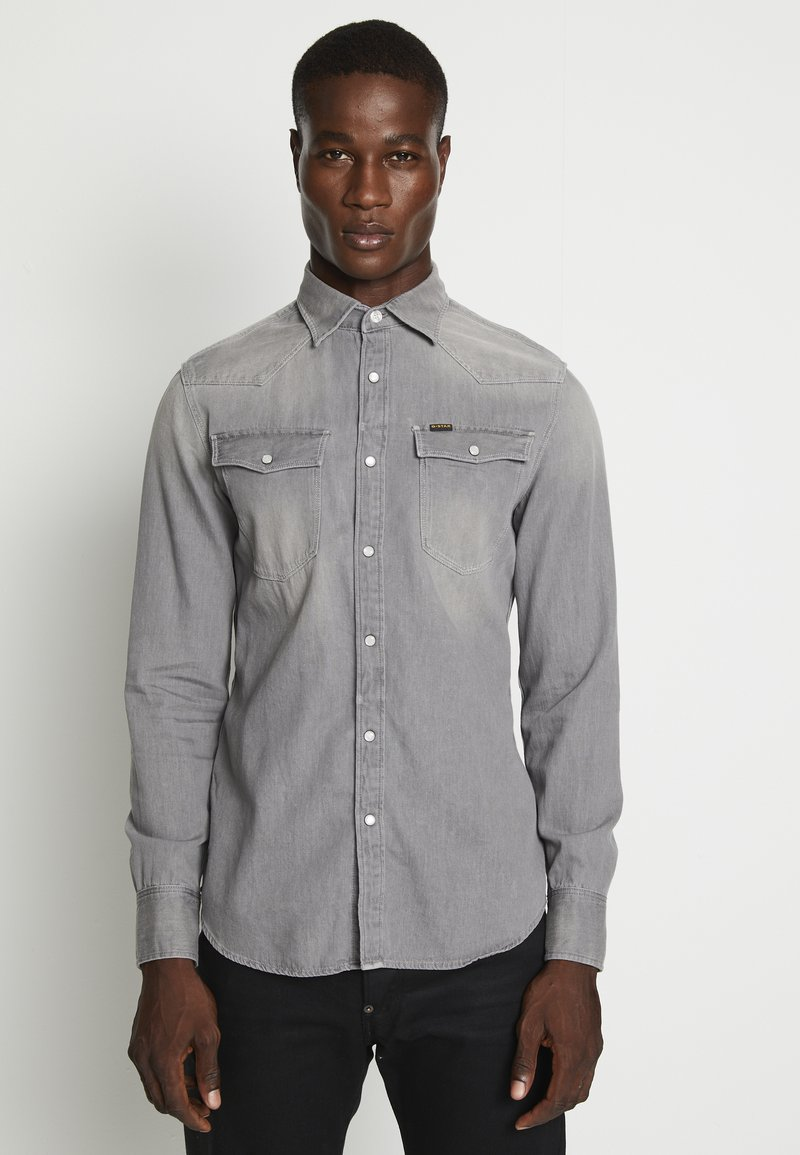 G-Star - 3301 SLIM SHIRT L\S FADED DUST GREY MEN - Camicia - faded dust grey