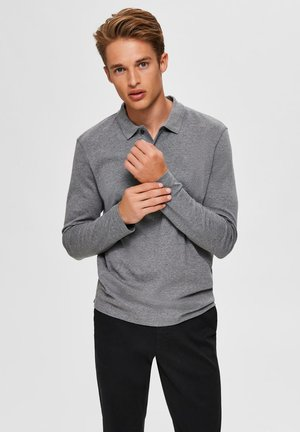 Poloshirt - medium grey melange