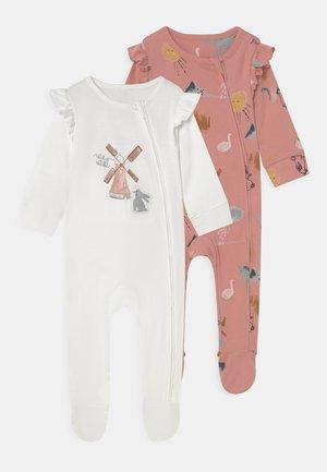 BABY SLEEP SUITS 2 PACK UNISEX - Sleep suit - pink/white